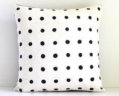 Dotty Black Hand screen printed Eco cushion -  40cm x 40cm by Bubblesatthehead on Etsy https://www.etsy.com/listing/152206127/dotty-black-hand-screen-printed-eco