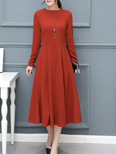 Casual Women Brief Solid Color O-neck Long Sleeve Dresses is comfortable, see other simple casual dress on NewChic Mobile Polka Dot Maxi Dresses, Women's Briefs, Dress Silhouette, Casual Dresses, Style Inspiration, Sleeves, Clothes, Men Pants, Sleeve Dresses