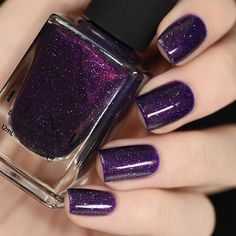 Beautiful swatch of our sultry dark purple holographic, Storytelling! Available on ILNP.com! #ILNPStorytelling