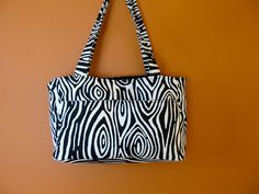 Reese #17 Zebra Print Tote or Project Bag, Up Cycled