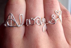 3 Ring Set Harry Potter Inspired Geek Silver Always Wire Wrapped Ring Set on Etsy, $23.00