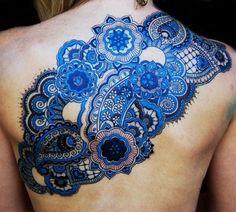 Amazing Blue Tattoo Design for Women