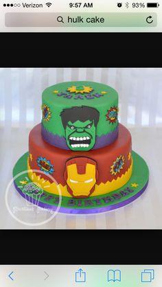 Hulk/iron man cake