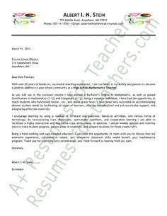 cover letter template for resume for teachers | Elementary Teacher ...