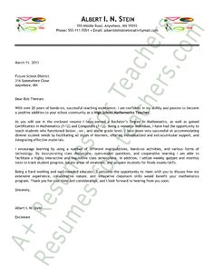 Teacher Cover Letter Example | Letter sample, Professional resume ...