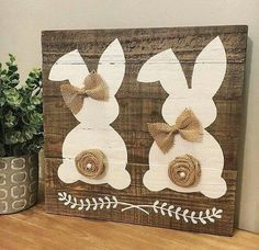 Easy Spring decor - 20 Super Easy DIY Wooden Decorations To Beautify Your Home This Easter. Easter Projects, Easter Crafts, Craft Projects, Easter Ideas, Easter Dyi, Bunny Crafts, Craft Ideas, Spring Crafts, Holiday Crafts