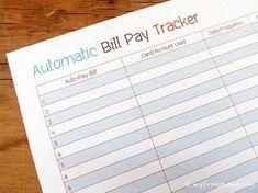 Auto Bill Pay Tracker Printable