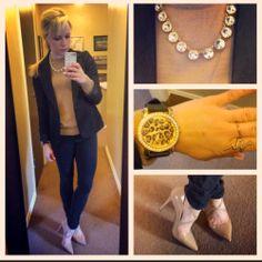 Blazer: Gabes, Sweater: Gap, Pants: Khol's, Pumps: Jessica Simpson via 6pm.com, Watch: Francesca's, Necklace: F21