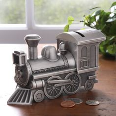 Pewter Choo-Choo Train Bank.  Pinned by MotherhoodCloset.com Use Coupon Code MHoodCloset to save 15%