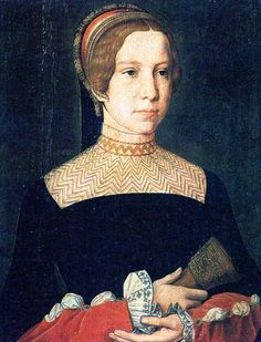 A portrait of Madeleine de La Tour d'Auvergne, spouse of Lorenzo di Piero de' Medici, and mother of Catherine de' Medici, the future Queen of France. She died in 1519, shortly after the birth of Catherine, reportedly from the plague, but some speculate that it may have been syphilis given to her from her husband.