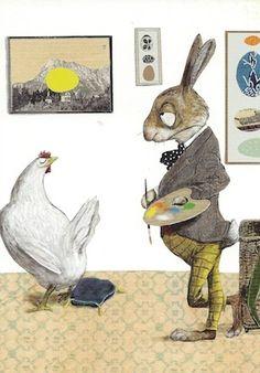 Osterhase / Postkarte mit Illustration von Wolf Erlbruch