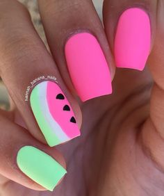 Watermelon nails Im at PolishCon right now Product Bright Pink Nails, Bright Summer Nails, Green Nails, Purple Nails, Cute Nails, Pretty Nails, My Nails, Watermelon Nail Art, Shellac Nail Colors
