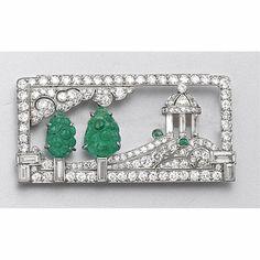 Brooches Art Deco carved emerald and diamond brooch, circa 1925 - Sotheby's - Bijoux Art Deco, Art Deco Jewelry, Modern Jewelry, Fine Jewelry, Jewelry Design, Art Nouveau, Diamond Brooch, Art Deco Diamond, Emerald Diamond