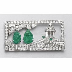Art Deco carved emerald and diamond brooch, circa 1925 - Sotheby's