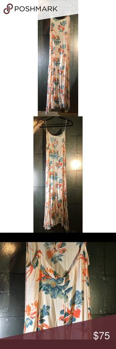 Free People Maxi Dress - Wear Out or To Bed! Free People Intimates • M • Pale Coral + Blue + Red-Orange • Worn once on a TV set. Hangs well on the body - pair with a leather jacket and tall boots or 70s shoes. Or wear to bed! Perfect vacay piece cause you can wear to sleep for half the trip, then rock it out for the rest.•••Ask all Qs beforehand - I'm here for you! - no returns, sorry💛••• Free People Dresses Maxi