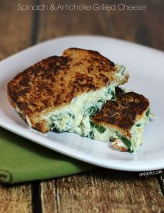 This sandwich positively oozes rich, creamy, cheesy spinach and artichoke dip sandwiched between slices of buttery wheat bread. Only 8 Weight Watchers Points Plus and just around 350 calories! www.emilybites.com