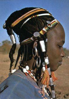 Africa | Gaobé Fulani woman, between Dori and Markoye. Séno Province, Burkina Faso || Scanned postcard; photo DiaViolta
