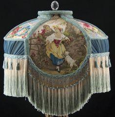 VICTORIAN LAMP SHADE FRAGONARD BLUE FABRIC SILK  Beads