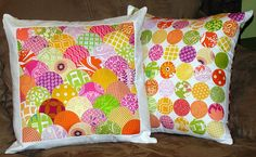 Pillows using accuquilt circle die - I was totally thinking of doing something like this!