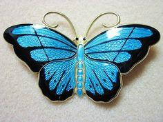 Large Hroar Prydz Norway Enamel Sterling Butterfly Pin   eBay