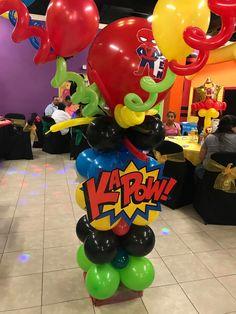 Spider-Man Balloon column holding all 4 helium arches