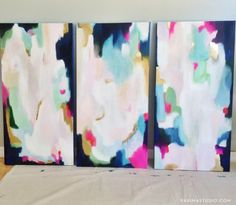 Commissioned abstract acrylic paintings by Parima Studio // gold, blue, pink, gold foil