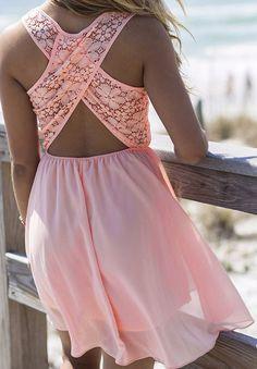 Vestido encaje espalda cruzada -rosa 14.72