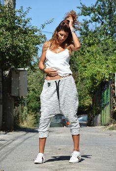 Autumn Loose Grey Harem Pants, Drop Crotch Maxi 7/8 Pants, Extravagant Hippie Casual Pants by SSDfashion