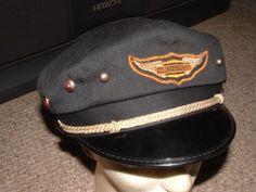 vintage harley davidson hat old motorcycle biker club 7 1/2 black 50's