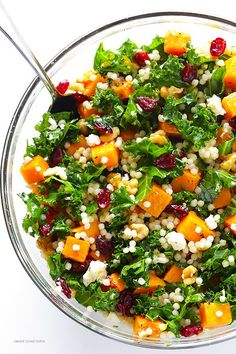 Roasted Butternut Squash, Kale and Cranberry Couscous -- a quick and easy meal t. - Roasted Butternut Squash, Kale and Cranberry Couscous — a quick and easy meal that's so fresh a - Vegetarian Recipes, Cooking Recipes, Healthy Recipes, Vegetarian Salad, Healthy Meals, Qinuoa Recipes, Crockpot Recipes, Sausage Recipes, Cream Recipes