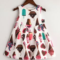 Find More Dresses Information about Girl Winter Sleeveless Princess dress Baby Girl party dress 2016 Ice Cream Print Children Kids Dress for Girls Autumn Dresses,High Quality dresses for bigger girls,China dress style for boys Suppliers, Cheap dress platform from Kids European Fashion  Store on Aliexpress.com