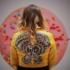 hand-painted jacket, custom jacket, custom biker jacket, custom leather jacket, noseart, flight jacket,