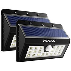 Mpow 20 LED Solar Lights, Bright Outdoor Security Lights with Motion Sensor Wireless Waterproof Lights for Garden, Wall, Path, Patio, Front Door, Deck, Yard, Driveway - 2 Pack - Brighten Your Way Home! Brighter Lights Last Longer 20 LED Design offers super bright lighting for a strong illumination up to 440 lumens . Far more brighter to cover a wide area than other similar solar lights in the market.And what's more, we increase the battery capacity from 1200mAh to 1500mA...