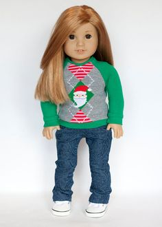 Green, red and gray Santa sweater by EverydayDollwear on Etsy. Made using the Sweater and Skirt Bundle pattern. Get it herehttp://www.pixiefaire.com/products/sweater-and-skirt-bundle-18-dolls. #pixiefaire #sweaterandskirtbundle