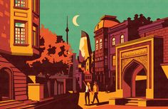 (Ombres et contraste) A series of illustrations exploring the Old Town area of Baku, Azerbaijan for high end magazine BAKU. I was sent over to Baku for 2 days to explore the beautiful old town, take in the sights, sounds and people of the area and create these illustrations …