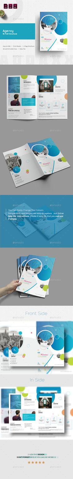 Agency Bi Fold Brochure Template InDesign INDD - A4 & US Letter Size