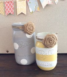 Yellow and grey painted mason jars rustic decor flower vases hostess gift on Etsy, $16.00