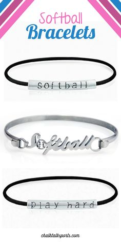 Show off your softball style on and off the field with a personalized softball bracelet. Choose from woven to sterling silver softball bracelets today! Softball Bracelet, Softball Jewelry, Softball Crafts, Softball Quotes, Softball Shirts, Softball Players, Girls Softball, Fastpitch Softball, Softball Stuff