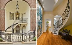 This Upper East Side home has hardwood flooring, a sweeping stair, ornate metal railings, large hanging wall tapestry, high ceilings, arched openings, and a grand entry with stained glass.