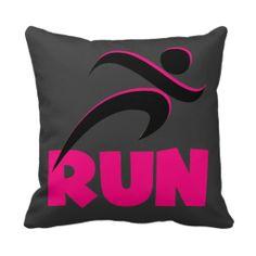 RUN Pink Throw Pillows