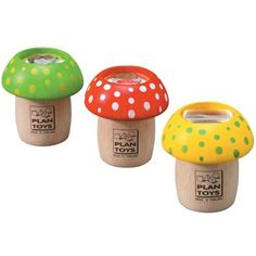 A faceted lens in our charming Mushroom Kaleidoscope by Plan Toys will transform the world into magical shapes and sparkling colors.These sweet little mushrooms make a perfect party favor or stocking