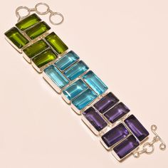 FACETED PERIODT & SWISS BLUE TOPAZ & AMETHYST .925 SILVER BRACELET #Handmade