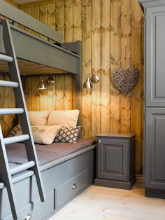 Furniture painted in Hampton Grey. Bunk Rooms, Bunk Beds, Cabin Homes, Log Homes, Cottage Design, House Design, Bed Nook, Built In Bunks, Basement Inspiration