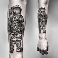 astronaut tattoo by Kamil Czapiga on facebook.com/kamilczapiga and instagram.com/kamilczapiga