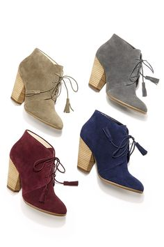 Lace-up suede booties with fun, on-trend tassels