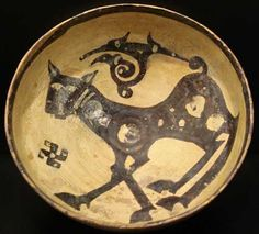 "Nishapur Slip Painted Bowl - AMD.48 Origin: Central Asia Circa: 900 AD to 1000 AD Dimensions: 3.9"" (9.9cm) high x 8.6"" (21.8cm) wide Col..."