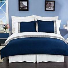 R-T 4 Colors Astrid Super Soft- Wrinkle Resistant Microfiber Embroidered Duvet Cover Set White Duvet Covers, Duvet Cover Sets, Blue And White Bedding, Blue Duvet, Blue Bedspread, Embroidered Bedding, Blue Bedroom, Dream Bedroom, Master Bedroom
