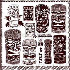 Vintage aloha tiki ayarla — Stok İllüstrasyon #40725143