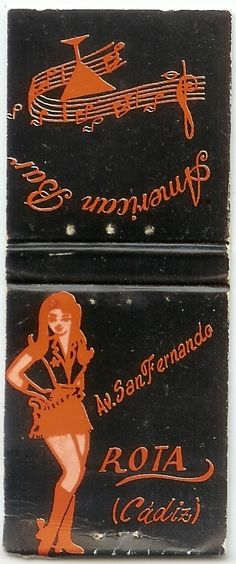 American Bar matchbook cover from Rota Spain - circa Rota Spain, Graphic Art, 1960s, Safety, Bar, American, Cover, Collection, Security Guard