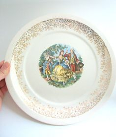 Vintage Plate, Scenic Plate, Vintage Dinner Plate, Scenic Dinner Plate, Gold Plate, Gold Dinner Plate, Cream & Gold Plate, Dancing Couple by MustardDandelion on Etsy https://www.etsy.com/listing/216209094/vintage-plate-scenic-plate-vintage
